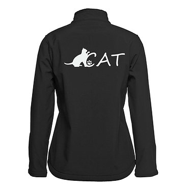 Ladies soft shell jacket black with cat image back view