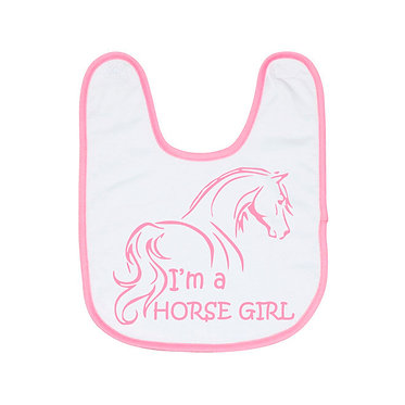 Babies bib white with soft pink trim I'm a horse girl image front view
