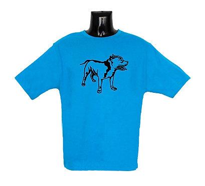 Aqua Pitt Bull Dog T-Shirt Front View