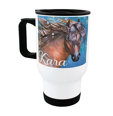 Personalised travel mug stainless steel fantasy horse image front view
