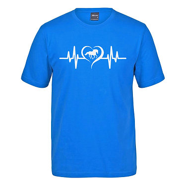 Adults t-shirt aqua with horse heartbeat image front view