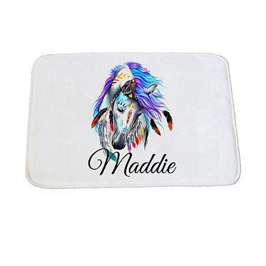 Personalised non-slip bath mat spirit horse image front view