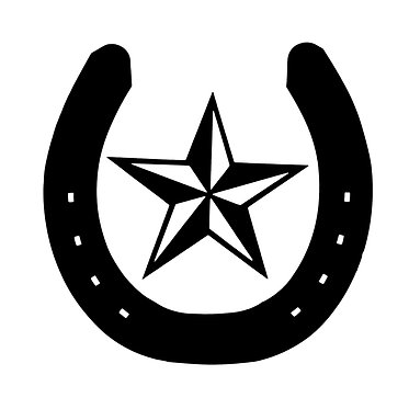 Horse shoe with star decal sticker front view