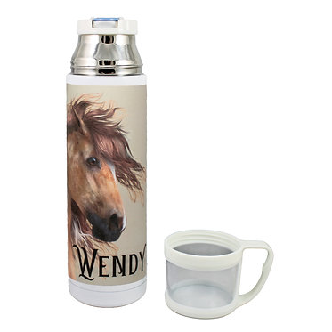 Personalised thermos flask drink travel bottle stainless steel wild paint horse image lid off front view