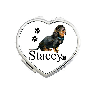 Personalised dachshund heart shape compact mirror front view
