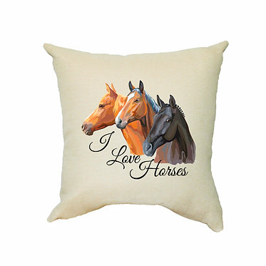 Tan cushion cover with zip dream I love horses image front view