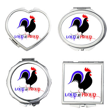 Compact mirror set shapes round, heart, square, oval with rooster image and loud n proud text front view