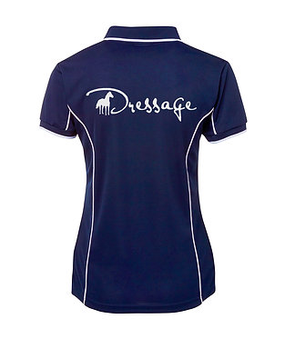 Ladies horse dressage polo shirt Navy white pipping back view