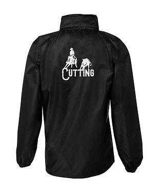 Black with white horse cutting image rain sheet jacket back view