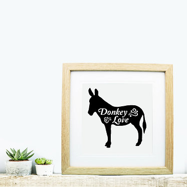 Square wood picture frame donkey love black and white image front view