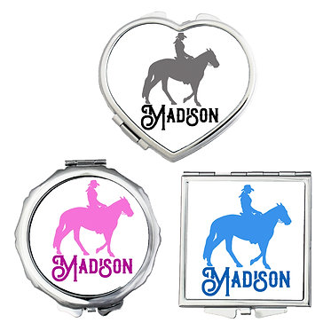 Set of three compact mirrors personalised western horse rider image front view