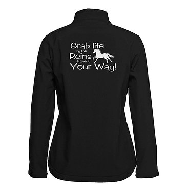 Ladies horse soft shell jacket black take life by the reins back view