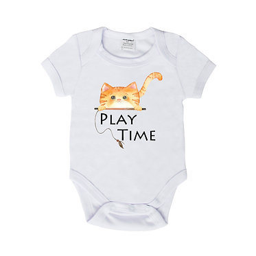 Baby romper play suit white with ginger cat play time image front view