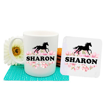 Ceramic coffee mug and drink coaster set personalized with text horse and flowers image front view