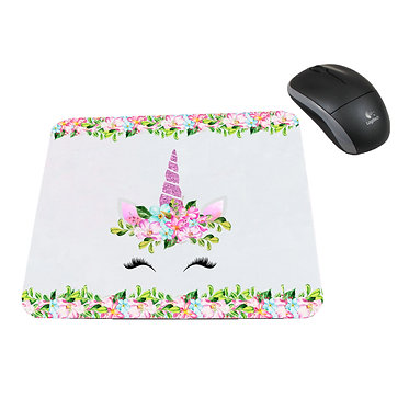 Computer mouse pad neoprene unicorn face image great unicorn gift idea front view