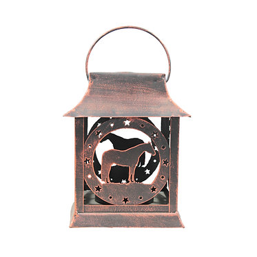 Metal horse lantern with horse image front view