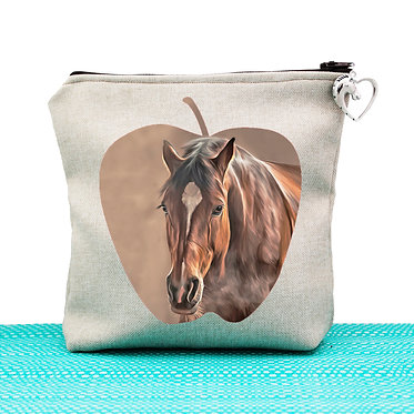 Tan cosmetic toiletry bag with zipper bay brown horse image front view