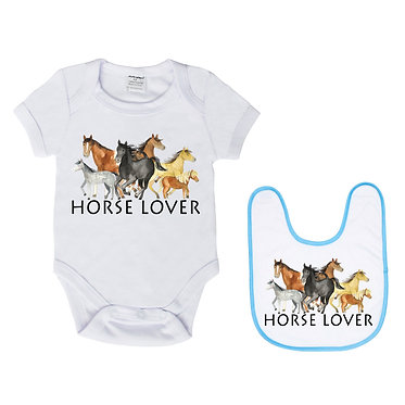 Baby romper play suit and matching bib gift set white with blue trim on bib horse lover image front view