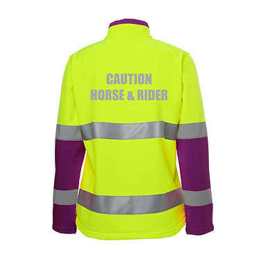 "Ladies hi vis reflective softshell jacket in lime and purple with text ""caution horse and rider"" back view"