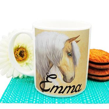 Personalised ceramic coffee mug palomino horse image front view