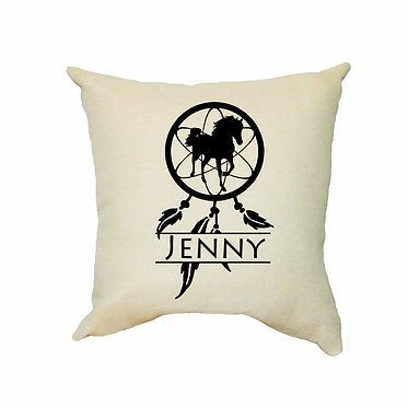 Personalised tan cushion with zip dream catcher horse image front view
