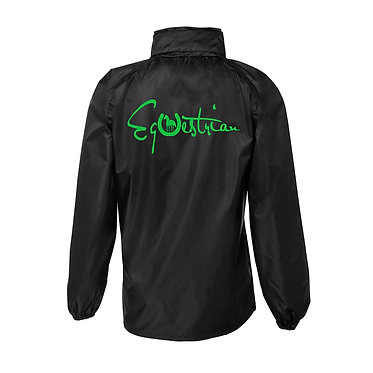 Equestrian rain sheet black with green image back view