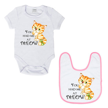 Baby romper play suit white with pink trim cute kitty you had me at meow image front view