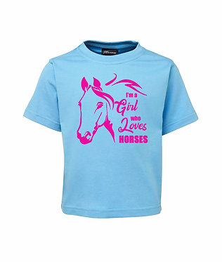 Light Blue kids cotton t-shirt I'm a girl who loves horses pink image front view