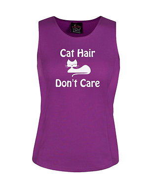 Ladies singlet top mulberry with cat hair don't care image front view
