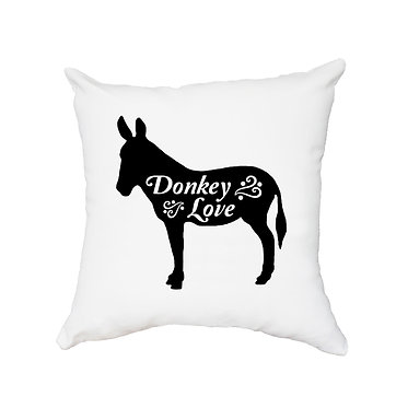 White cushion cover with zip linen/polyester fabric with donkey image and text donkey love front view