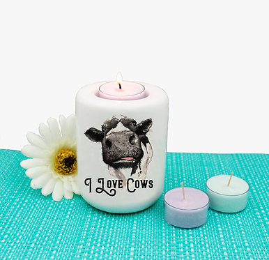Ceramic tealight candle holder with i love cows quote and image front view