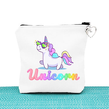 White cosmetic toiletry bag with zip unicorn cartoon front view