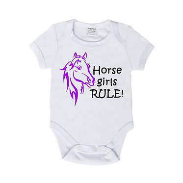 Baby romper play suit white with purple horse girl rule image front view