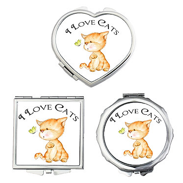 Compact mirrors round, square, heart shapes with I love cats image front view