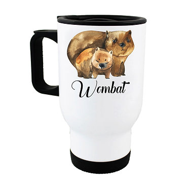 Travel mug with Australian mother and baby Wombat image front view