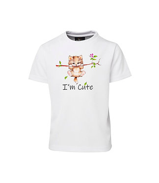 Kids cotton t-shirt I'm cute kitty cat image front view