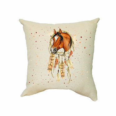Horse dream catcher tan cushion cover frony view