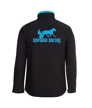 Mens softshell jacket harness racing black with aqua image and accents back view
