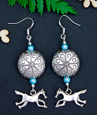 HORSE EARRINGS WITH 925 STERLING SILVER HOOKS