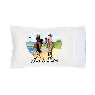 Personalised white pillowcase best friends beach riding image front view