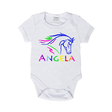 Personalised baby romper suit white with horse head image front view
