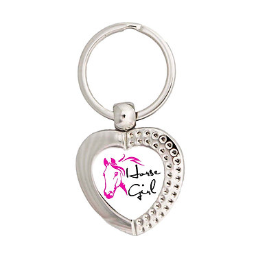 Heart metal key-ring hot pink horse girl image front view