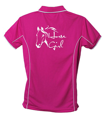Hot pink with white pipping polo shirt horse girl back view