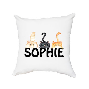 Personalized white cushion cover with zip 40cm x 40cm with name and three cute cats image front view