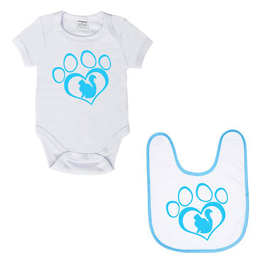 Baby romper suit and matching bib set white with blue cat in heart paw print image front view