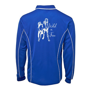 Adults long sleeve polo shirt royal blue white wild n free image back view