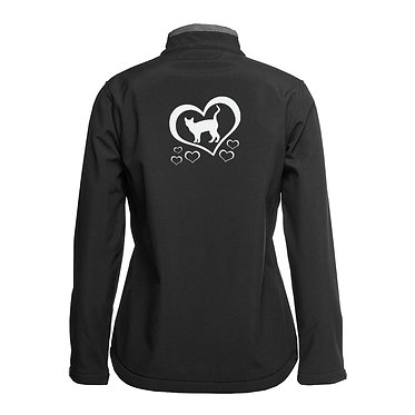 Ladies soft shell jacket black with charcoal trim cat and hearts image back view