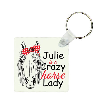Square MDF wood key-ring crazy horse lady image front view