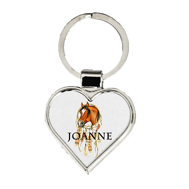 Personalised heart shape metal key-ring dream catcher horse image front view