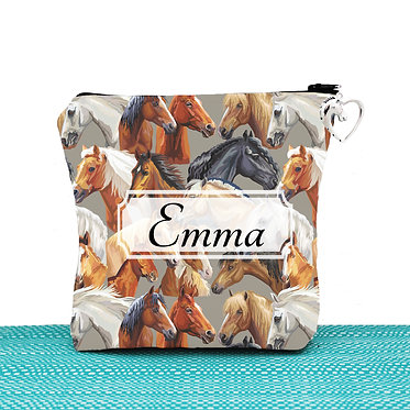 Cosmetic toiletry bag with zipper personalised with horse pattern image front view